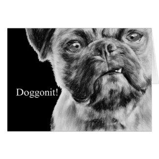 Miss You Grumpy Smug Pug Dog Card