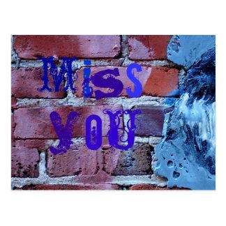 Miss you lots on bricks postcard