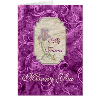 Miss You Love Fiancé Purple Iris Card