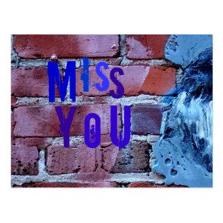 Miss you on bricks postcard