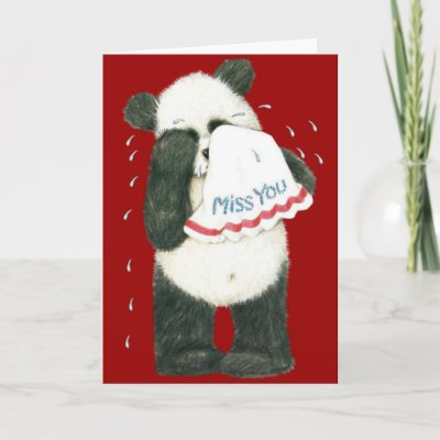 Miss You Panda Teddy Card (Blank) by fuzzbuttcafe. Cute Panda Miss You Card