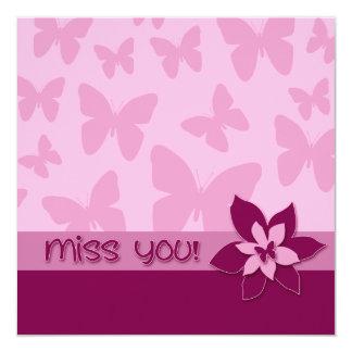 Miss You! Pink Butterflies, Dark Pink Flower Card