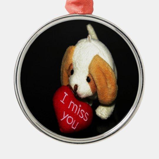 miss you puppy peace love joy metal ornament