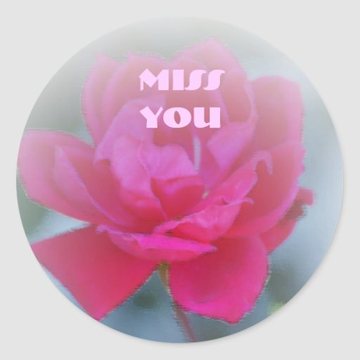 Miss You, Red rose painting Classic Round Sticker