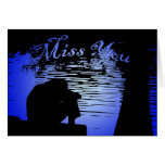 Miss You - Silhouette of Man under a Tree Cards