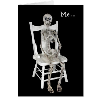 miss you-skeleton on chair card