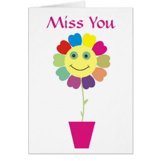 Miss You Smiley Happy Face Flower Greeting Card
