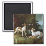 Misse and Turlu, two greyhounds of Louis XV 2 Inch Square Magnet