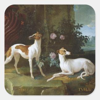 Misse y Turlu, dos galgos de Louis XV Pegatina Cuadradas Personalizadas