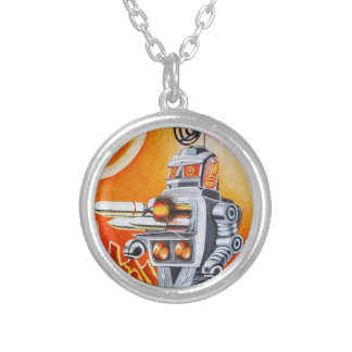 MISSILE ROBOT SILVER PLATED NECKLACE