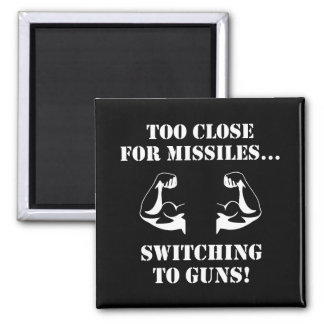 Missiles To Guns 2 Inch Square Magnet