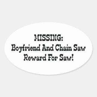 Missing Boyfriend And Chainsaw Reward For Saw Oval Sticker