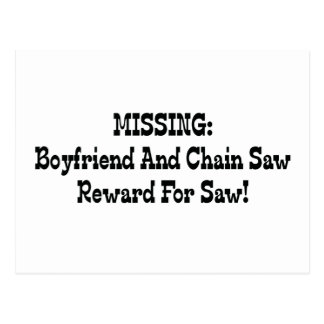 Missing Boyfriend And Chainsaw Reward For Saw Postcard