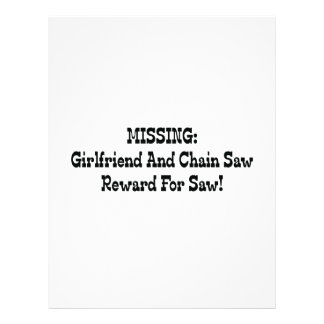 Missing Girlfriend And Chainsaw Reward For Saw Letterhead Design