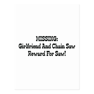 Missing Girlfriend And Chainsaw Reward For Saw Postcard