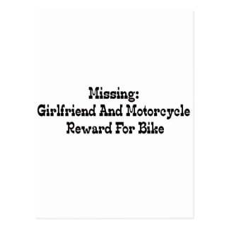 Missing Girlfriend And Motorcycle Reward For Bike Postcard