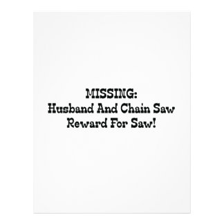 Missing Husband And Chainsaw Reward For Saw Personalized Letterhead