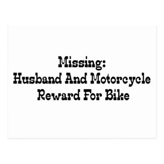 Missing Husband And Motorcycle Reward For Bike Postcard