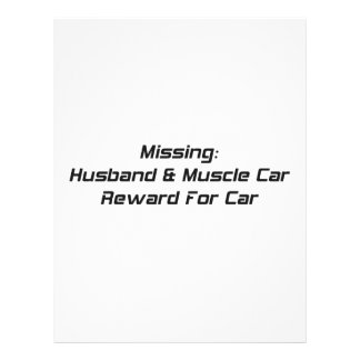 Missing Husband And Muscle Car Reward For Car Customized Letterhead