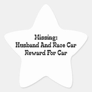 Missing Husband And Race Car Reward For Car Star Sticker