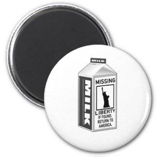 Missing Liberty Milk Carton 2 Inch Round Magnet