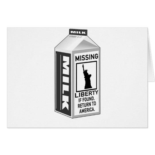 Missing Liberty Milk Carton Card