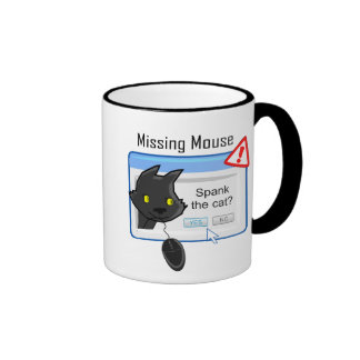 Missing Mouse? Spank the cat! Ringer Coffee Mug