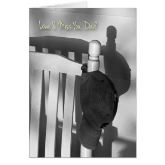 Missing My Dad, Cap and Rocking Chair Shadow Photo Card