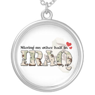 Missing my other half in Iraq Silver Plated Necklace