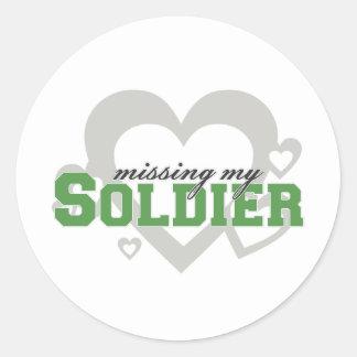 Missing My Soldier Classic Round Sticker