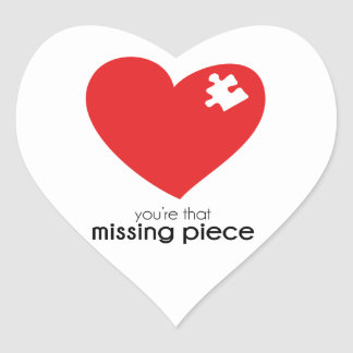 Missing Piece of My Heart Items Heart Sticker