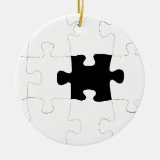 Missing Puzzle Piece Ceramic Ornament