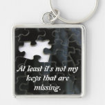Missing Puzzle Piece Silver-Colored Square Keychain