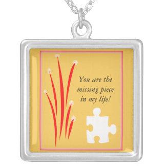Missing Puzzle Piece Square Pendant Necklace