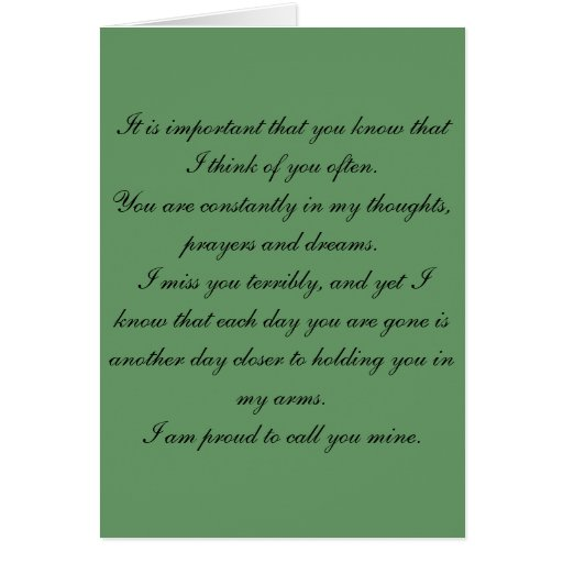 Missing spouse overseas in the military greeting card