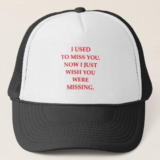 MISSING TRUCKER HAT