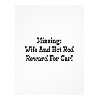 Missing Wife And Hot Rod Reward For Car Personalized Letterhead