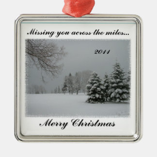 Missing You Across the Miles-Merry Christmas Square Metal Christmas Ornament