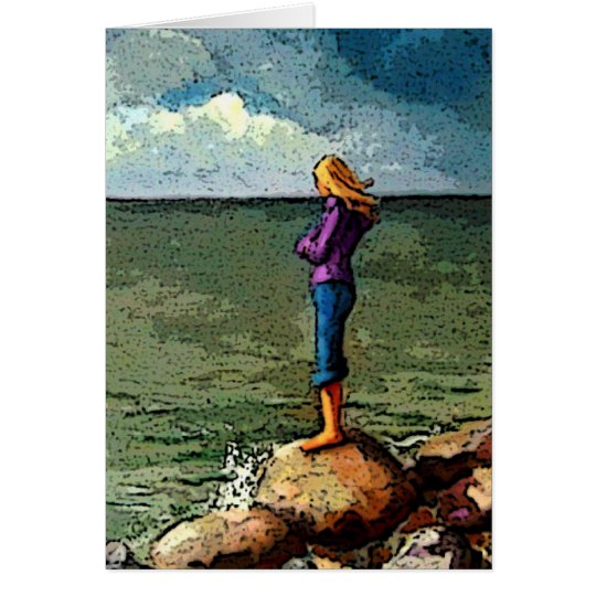 Missing You: Artwork: Girl on Rocks by Ocean Card