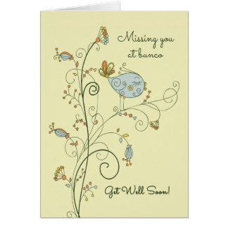Missing You at Bunco-Get Well Soon Card