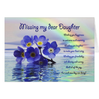 Missing you card for daughter with forget me nots