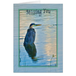 Missing You Card with Great Blue Heron