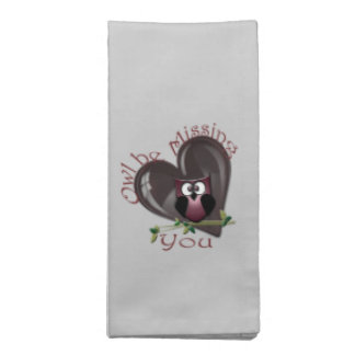 Missing You, Cute Owl and Heart American MoJo Napk Napkin