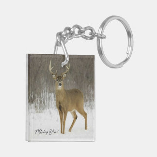 Missing You!  Deer  (double-sided) Key Chain