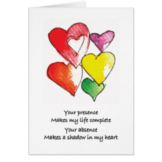 Missing You Hearts Card