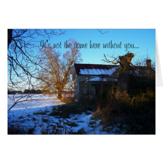 Missing You - Lonely Rural Snow Scene Card