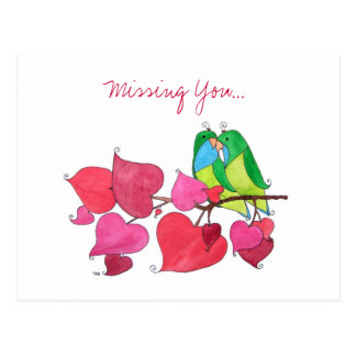 Missing You, Love Birds Postcard