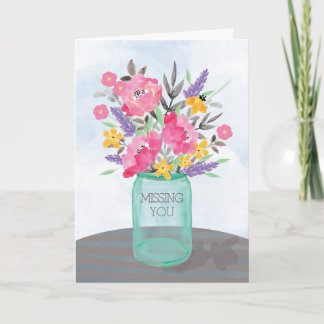 Missing You Mother's Day Jar Vase with Flowers Card