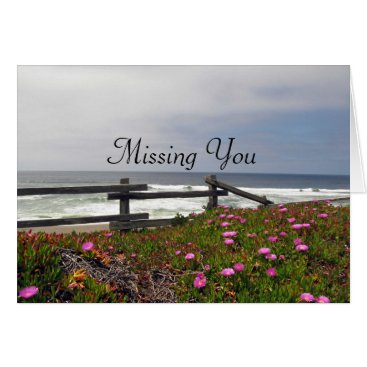 Beach Themed Missing You Ocean Flowers Note Card