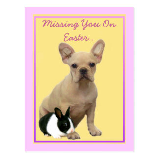 Missing you on  Easter French bulldog postcard